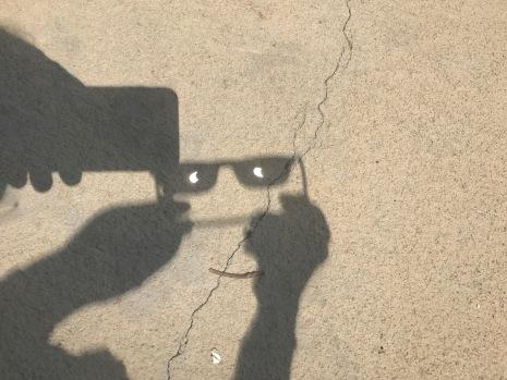 Sun shape shining through magnified lenses