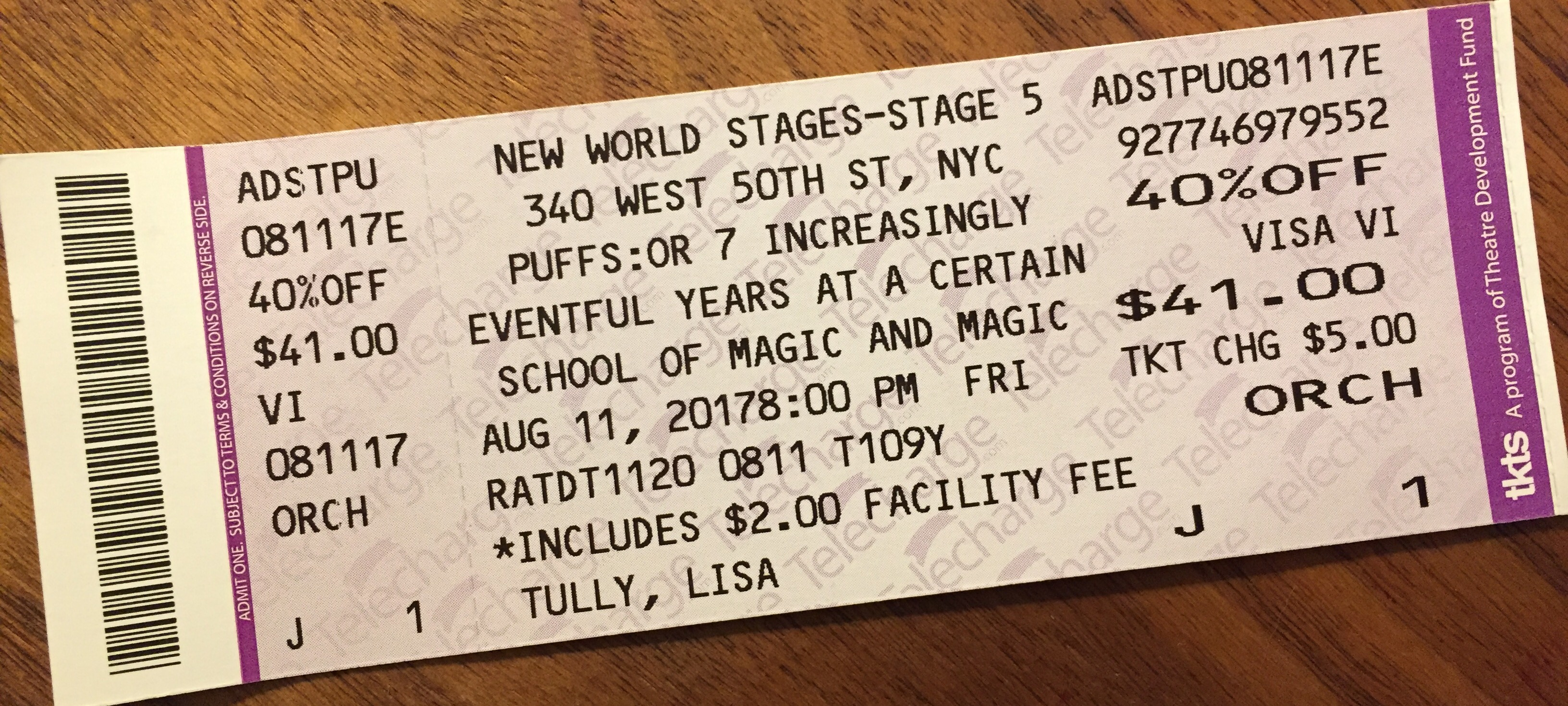Puffs ticket