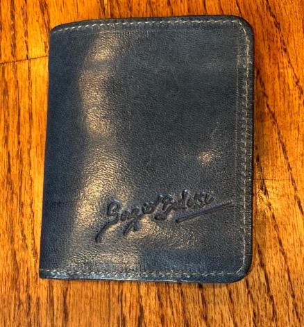 Blue wallet outside